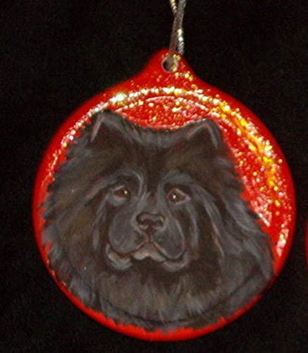 Black Chow Chow Dog Christmas Ornament Custom Hand Painted