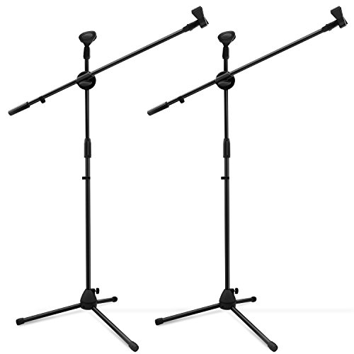 Microphone Stand 2-Pack, Ohuhu Tripod Boom Mic Stands, Dual Mic Clip, Collapsible, Black