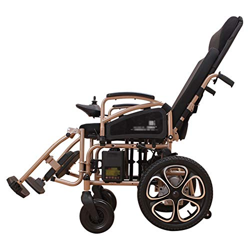 - Ho,ney Electric Wheelchair - Full Reclining High Back Foldable Pneumatic Tire Electromagnetic Brake Scooter -98749 Wheelchair (Color : Brown)