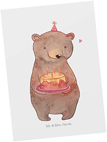 Mr. & Mrs. Panda Grußkarte, Ansichtskarte, Postkarte Geburtstags Bär Törte - Farbe Weiß