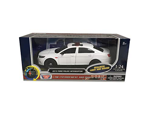 2013 Ford Police Interceptor with Flashing Lights and Two Sounds Plain White 1/24 Diecast Model Car by Motormax 79538 ()