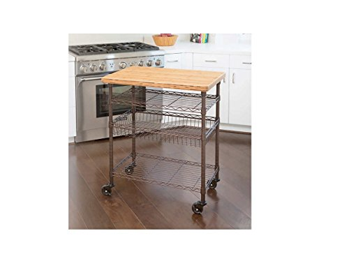Seville Classics, Professional Chef s Kitchen Cart with Solid Bamboo Top Food Safe, Lacquered Finish