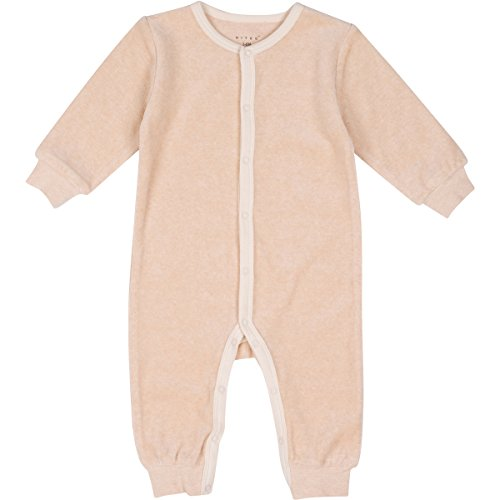 Niteo Baby Organic Cotton Velour Snap Front Coverall, Light Brown, 0-3M