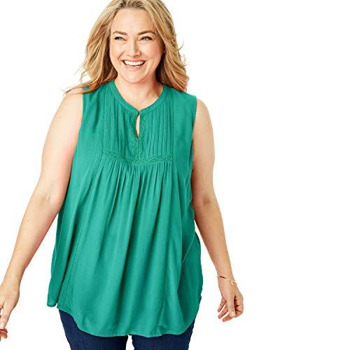 Woman Within Women's Plus Size Pintucked Crochet Trim Crinkle Tank - Foliage Green, 14/16 (Trim Crochet Gauze Womens)