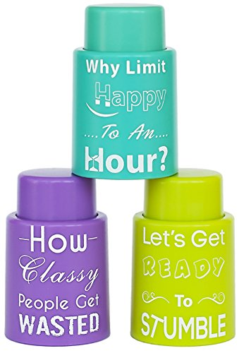 Paragon Storm Set of 3 Vacuum Seal Wine Stoppers: Professional Quality, Great Novelty Gift, Fun Phrases With Unique Colors]()