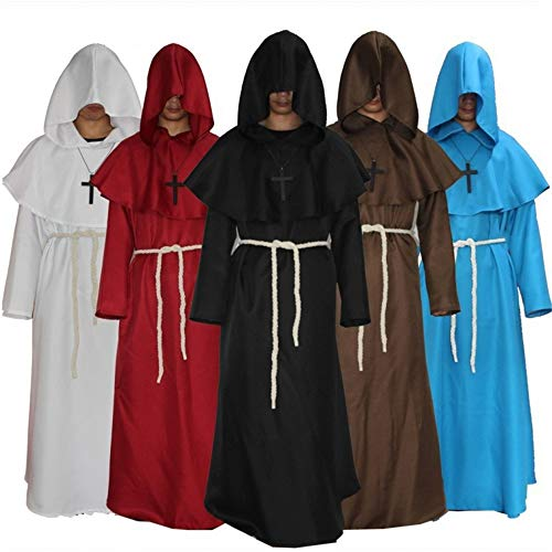 Halloween Costumes Medieval Priest Robes Monk Robe Hooded Cape Cloak for Wizard(Blue Large) -