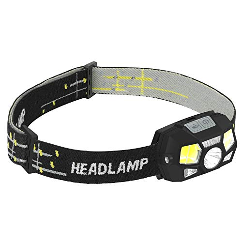 Snado USB Rechargeable LED Head Torch Flashlight, Waterproof Lightweight Headlamp with Red Warning Lights, 5 Modes Headlight for Cycling Running Camping Hiking Fishing and More