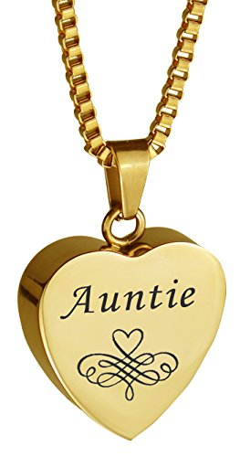 Patterned Urn - Love to Treasure Auntie Patterned Gold Heart Urn Pendant - Memorial Ash Keepsake - Cremation jewelry