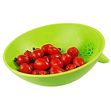 Pro Silicone Colander | Multifunctional Colander Bowl with Funnel and Removable Strainer for Noodles Vegetables Fruits | Cold and Heat Resistant PP Material | Dishwasher Safe | Fresh Green | 1043