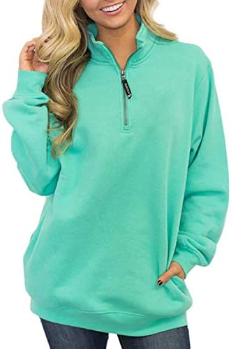LilyAngel レディースハイカラーカジュアルジッパーポケットロングスリーブスウェットシャツ (Color : ライトブルー, サイズ : L)