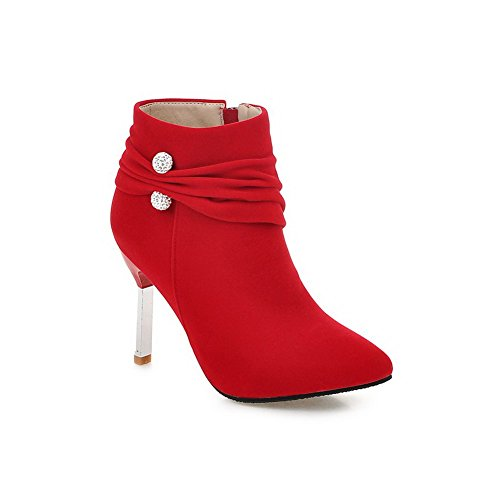 Red Girls Ornament Frosted Boots Zipper 1TO9 Metal Winkle Pinker Stiletto Uqnxw1Hz