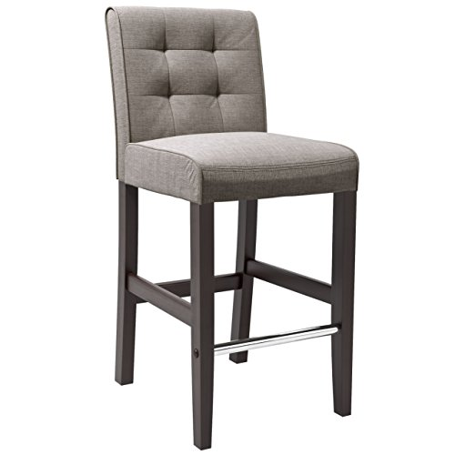 Corliving - Bar Woven Fabric Chair - Gray; Dark Espresso