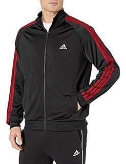 New Men/'s adidas Essential 3 Stripe Tricot Track Jacket Scarlet//Black