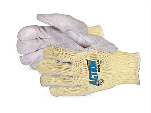 ion Triple Play Kevlar Steel Mesh Lined Glove with Side-Split Leather Palm, Work, Cut Resistant, Large (Pack of 1 Pair) (Steel Palms Leather)