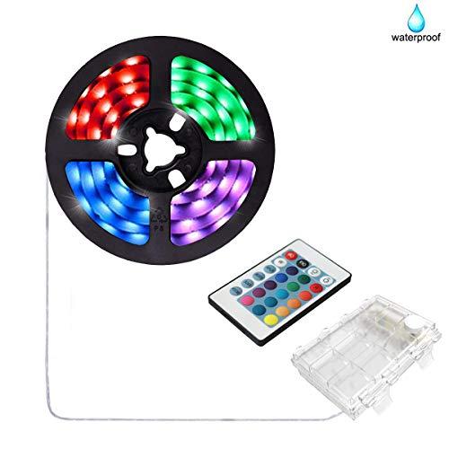 aijiaer Battery Powered Led Strip Lights, 5050 2M/6.6FT, Waterproof Flexible Color Changing RGB LED Light Strip, 60 LEDs 5V Battery-powered with RF Controller