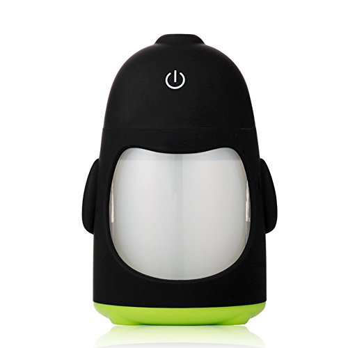 MollBii 150ml USB Penguin Creative Ultrasonic Cool Mist Humidifier Mini Portable USB Air Humidifier with 7 Changing LED Night Lights Aroma Diffuser for Office Desk/ Bedroom/ Travel/ Car (Green) by MollBii