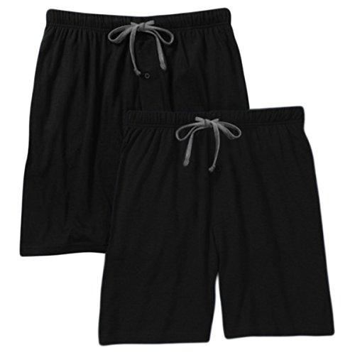 - Hanes Men`s Jersey Lounge Drawstring Shorts with Logo Waistband 2-Pack (Large, Black/Heather) ...