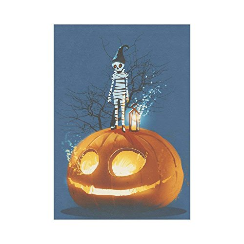 HUNAFIVG Premium Decorative Flags for Outdoors, Halloween Mummy on Pumpkin Polyester Garden Flag Outdoor Banner 28 x 40 inch, Spooky Night Decorative Large House Flags for Party Yard Home -