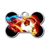 WWQE-47 Football in Flames Custom Pet' Names & ID Number Front & Back Tags Personalized Dog & Cat Tags Bone Shape