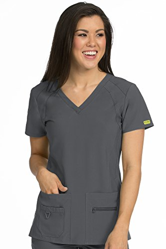Med Couture Activate Women's V-Neck Racerback Scrub Top, Pewter, Small