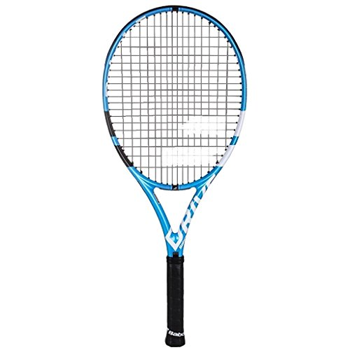 Babolat Pure Drive 110 Extended Oversized Black/Blue/White Tennis Racquet (4 1/8″ Grip) Strung with Pink Color String (Best Racket for Power and Comfort)