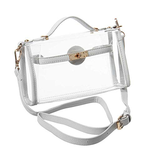 Yocatech Transparent Crossbody Bags Clear Messenger Bags for Women NFL Stadium Approved,Adjustable Strap (Grey)