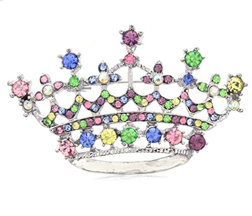 Soulbreezecollection Princess Crown Tiara Brooch Pin Wedding Bridesmaid Clear Rhinestones Jewelry (Multi-Color)