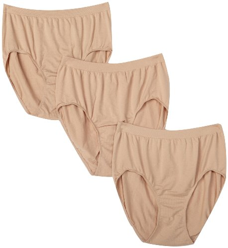 Bali Women's Plus Size 3-Pack Solid Microfiber Full Brief Panty, P27-3 Nude, 11