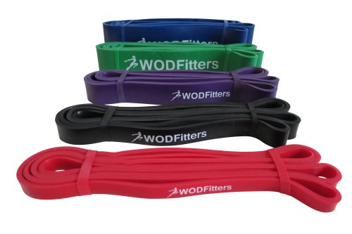 WODFitters Stretch Resistance Pull Up Assist Band with eGuide, #1 Red- 10 to 35 Pounds (1/2 ' *4.5mm)