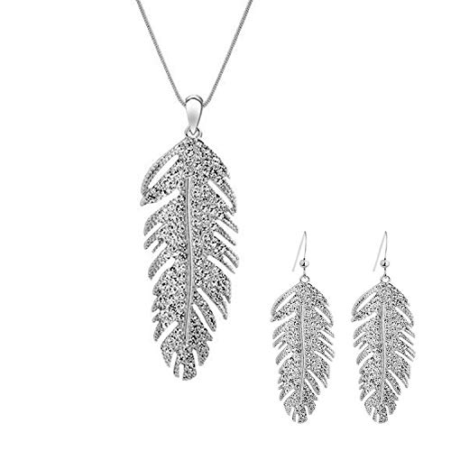 CNZONE Feather Necklace and Earrings Set for Women Gril - Plated Sterling Silver ()
