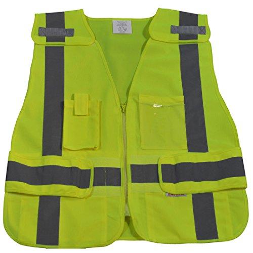 - Petra Roc LV2-LPSV-PLUS ANSI-107 Class 2 Contrast Public Safety Vest, XX-Large/5X-Large, Lime Solid