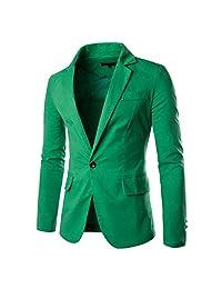 Pishon Men's Linen Blazer Lightweight Casual Solid One Button Slim Fit Sport Coat