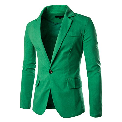 Pishon Men's Linen Blazer Lightweight Casual Solid One Button Slim Fit Sport Coat, Green, Tag Size XXL=US Size M