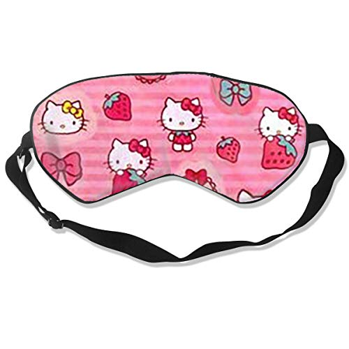 CFXDD Hello Kitty Sleeping Eye Mask for Women Man Kid Girls -Hypoallergenic,Best Light Blackout - Adjustable Night Blinder Blindfold - Great for Travel, Shift Work & Meditation