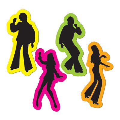 (Retro 70s Silhouettes Party Accessory (4/Pkg) (Value 3-Pack))