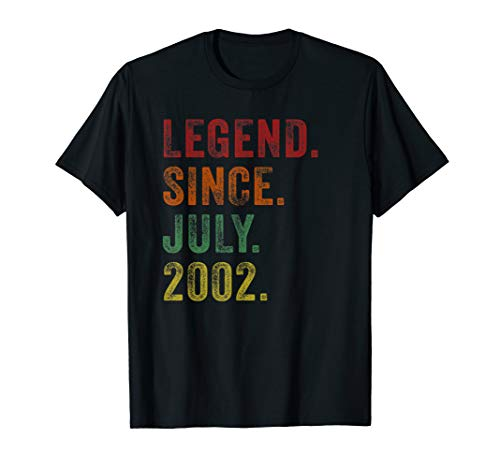 Legend Since July 2002 17th Birthday Gifts 17 Yrs Old Shirt (Gift Ideas For 17 Yr Old Boy)