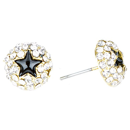 ACCESSORIESFOREVER Dazzling Crystal Rhinestone Star Round Fashion Stud Post Earrings E1194 Gold by Accessoriesforever (Image #1)