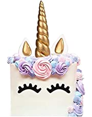 LUTER Cake Topper, Handmade Gold Unicorn Birthday Cake Topper, Reusable Unicorn Horn, Ears and Eyelash Set, Unicorn Party Decoration for Birthday Party, Baby Shower and Wedding (Set of 5) (6 x 1.37)