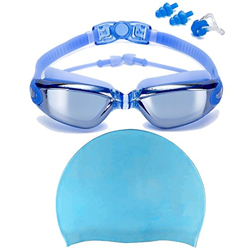 Swim Goggles + Swim Cap, Swimming Goggles No Leaking Anti Fog UV Protection Triathlon Swim Goggles with Free Protection Case + Nose Clip + Ear Plugs for Adult Men Women Girls Youth Kids Child (Blue)