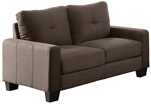 Homelegance 8518-2 Upholstered Loveseat, Brownish Grey Linen-Like Fabric - Ramsey Collection loveseat upholstered in tufted modern brownish grey fabric (100% Polyester) Classic framing and clean lines dominate the design Rectangular track arms design with semi-soft seating feel for your body - sofas-couches, living-room-furniture, living-room - 41aoaWP956L -