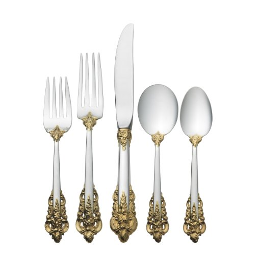 Wallace Grande Baroque Gold Accent 46-Piece Sterling Flatware Set with Cream Soup Spoon
