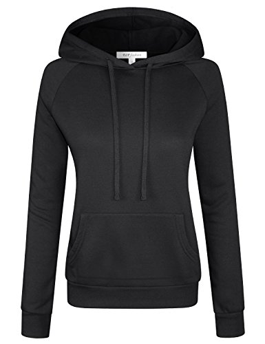 Inner Fleece Pockets (ELF FASHION Women Long Sleeve Drawstring Hoodie Sweatshirt W/Kangaroo Pocket Inner Brushed BLACK M)