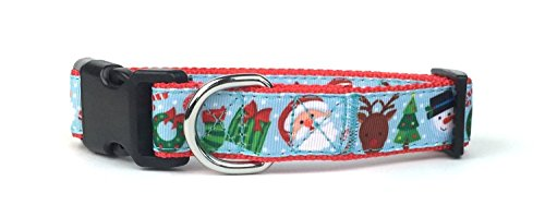 Dog Collar Christmas Ribbon Pet (Large Christmas Friends Nylon Ribbon Dog Collar by Midlee)