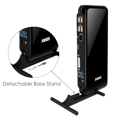 Anker® USB 3.0 Dual Display Universal Docking Station with DVI/HDMI of up to 2048 x 1152, Audio, Gigabit Ethernet, and 6 USB ports (2 USB 3.0 + 4 USB 2.0) for Windows (19V / 2A Power Adapter included) - Black