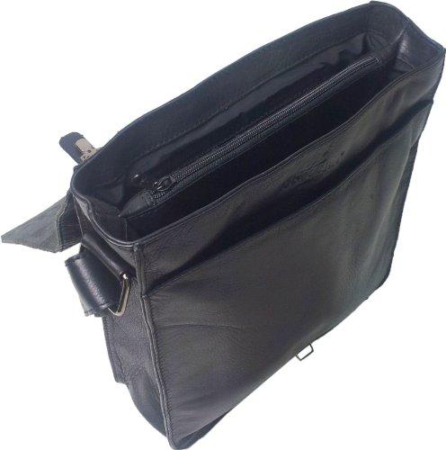 UNICORN Vera Pelle ipad, Ebook o Tablets Borsa Nero Messenger Bag #1F