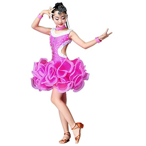 Children's Dance Costumes, Girls Pearl Puff Skirts Tassels Latin Rumba Practice Dance Clothes, Suitable for Stage Performance/Competition National Standard Dance Test (110-170cm) -