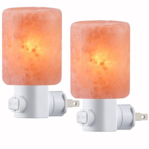 AMIR Salt Lamp, Natural Himalayan Crystal Salt Light with 4 Bulbs (2 Colorful Bulbs), 11.2oz Mini Hand Carved Night Light with UL-Approved Wall Plug for Air Purifying, Lighting and Decoration, 2 Pack
