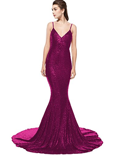 (DarlingU Women's Backless Mermaid Sequins Prom Evening Dresses Court Train Formal Party Gowns Spaghetti Straps Fuchsia 18W )