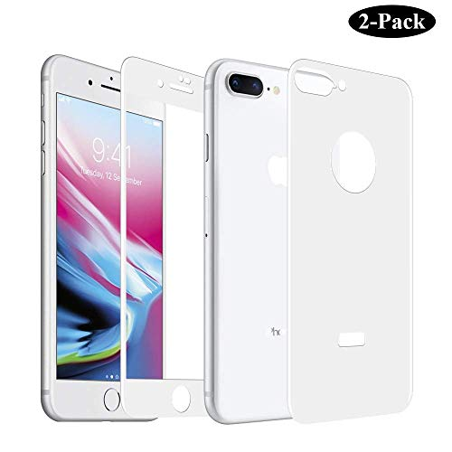 GAHOGA Compatible iPhone 7 Plus /8 Plus Screen Protector Front and Back [Anti-Scratch] [Case Friendly] Full Coverage Tempered Glass [3D Touch ] 2 Pack for iPhone 7+, 8+ - White