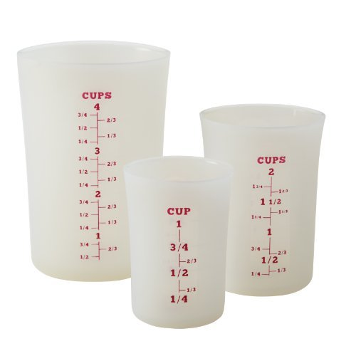 Cake Boss Countertop Accessories Silicone Liquid Measuring Cups, White by Cake Boss